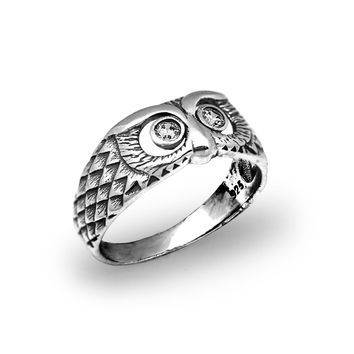 Owl Bird White CZ 925 Sterling Silver Pinky Finger Men Ring