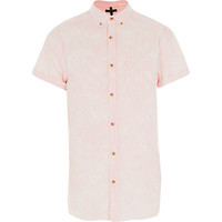 River Island MensPink acidwash short sleeve oxford shirt