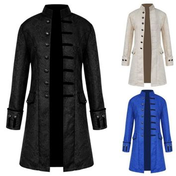 Cool Medieval Retro Men Dust Coat Medium Style Steam Punk Cosplay Costumes Palace Dress Europe America Stand CollarAT_93_12