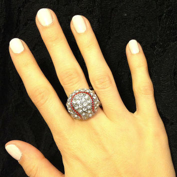 Baseball Domed Rhinestone Ring  (Stretch Fit)