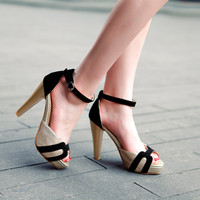 Summer Women Sandals Peep Toes Ankle Straps Platform Pumps High Heels Shoes 2016 9221