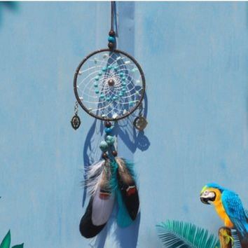 Creative turquoise beads dream catcher car pendant handmade home ornaments birthday gifts