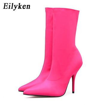 Eilyken 2017 Fashion Runway Stretch Fabric Sock Boots Pointy Toe Boots Heel High 10CM Shoes Sewing Woman Ankle Boot