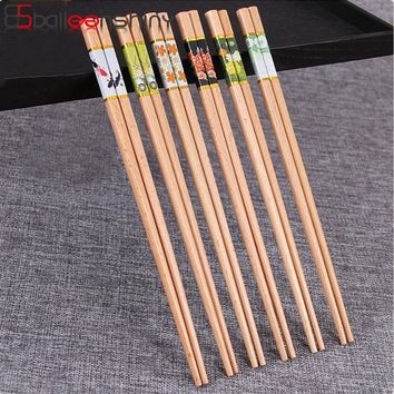 BalleenShiny Beech Wooden 24cm Chopsticks Japanese Style Tablewares Household Natural Flower Chopsticks for Rice Sushi Dishes
