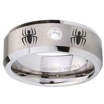 8mm Spiderman Beveled Edges Brushed Tungsten Carbide CZ Mens Wedding Ring