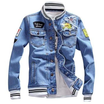 Trendy 2018 New Autumn Demin Jacket Patch Designs Fashion Men Winter Denim Jacket Men Fashion Streetwear Jeans Jacket AT_94_13