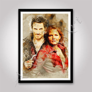 Once Upon a Time Emma Swan and Captain Hook poster Instant Download Jennifer Morrison Colin O'Donoghue Once upon a time print Digital poster