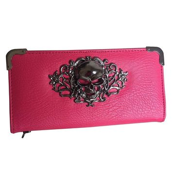 Pretty In Pink Leather Skull Punk Clutch Wallet