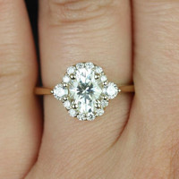 Britney 8x6mm 14kt Yellow Gold Oval FB Moissanite and Diamonds Halo Engagement Ring (Other metals and stone options available)