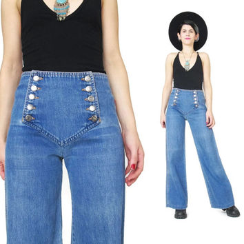 70s Chemin De Fer Jeans Vintage Sailor Bell Bottoms Jeans Womens Sailor Pants Medium Wash High Waist Wide Leg Jeans Saddle Back Jeans (S)