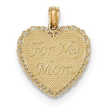 14K Gold Polished For My Mom/ Thanks For Everything Pendant K5194