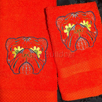 Bright Orange Sugar Skull Embroidered English Bulldog Hand and Wash Towel