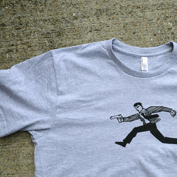 Running Man - American Apparel Heather Gray Screen Printed T Shirt - Mens Size LARGE