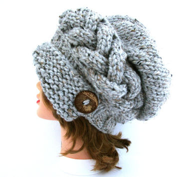 Gray Marble Cloche - Slouchy Hat With Button - Cable Knit Hat - Flapper Hat - 1920s cloche hat - Women's chunky hat - Knit Accessories