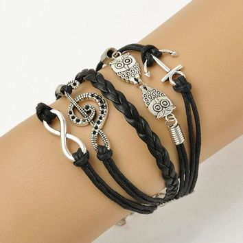 DCCKIX3 Vintage Leather Owl Music Note Anchor Charm Infinity Punk Statement Bracelet New Fashion Jewelry (Size: 17 cm) = 1946144580