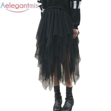 Aelegantmis Fashion Elastic High Waist Long Tulle Skirt Women Irregular Hem Mesh Tutu Skirt 2017 Spring Party Skirt Ladies