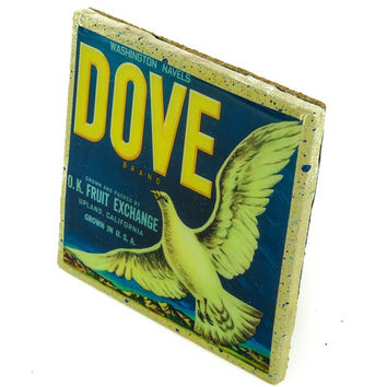 Dove Brand - Vintage Citrus Crate Label - Handmade Recycled Tile Coaster