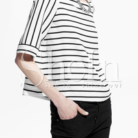 White Black Half Sleeve Striped T-shirt -SheIn(Sheinside)
