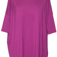 SHORT SLEEVE OVER SIZED DOLMAN TOP/ORCHID BY JULIE BILLIART