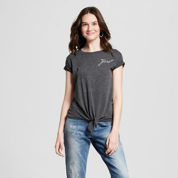 Women's Short Sleeve Get It Girls' Graphic T-Shirt - Zoe+Liv (Juniors') Charcoal