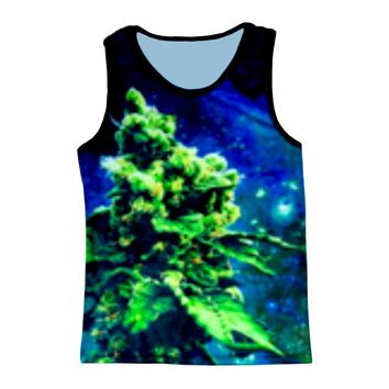 Vest Blue Galaxy Hemp Weed Leaf Sea Coral 3D Print Men Tank Top Tanktop Sleeveless Shirt