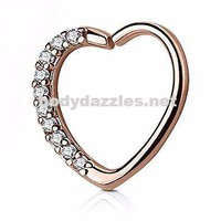 Lined CZ Set Heart 16 Gauge Ear Cartilage/Daith Hoop Rings Hoop Rings Helix Rook