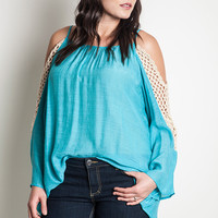 Crochet Cold Shoulder Top - Teal - Curvy