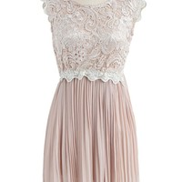 Glossy Floral Lace Pleated Dress