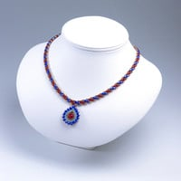 Asymmetric Teardrop Pendant  and Striped Necklace, Blue & Red, 377-1ne-blured