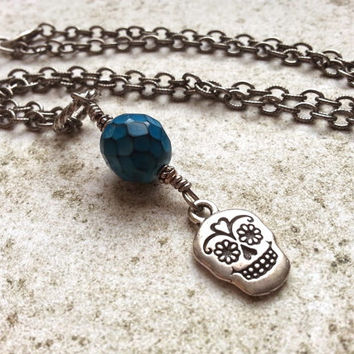 Teal Sugar Skull Necklace, Dia de los Muertos Jewelry, Gothic Necklace, Day of the Dead Jewelry, Sugar Skull Jewelry, Halloween Necklace