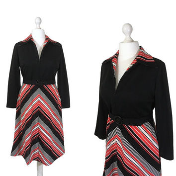 1970's Chevron Stripe Dress | 70's Shirt Dress | Black, Red And White Striped Dress | Belted Dress | Zip Neck
