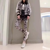 """Adidas"" Women Casual Flower Print Zip Cardigan Short Sleeve Trousers Set Three-Piece"