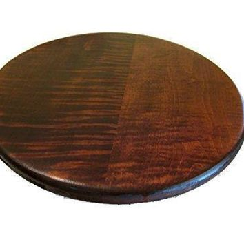 Tiger Maple Wood Lazy Susan Turntable with Cherry Stain 16""