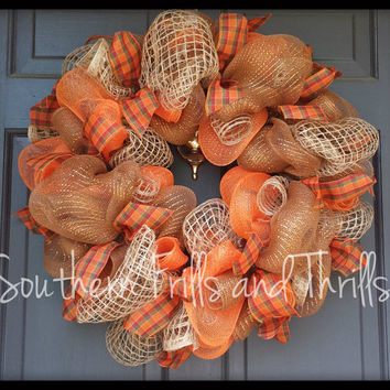 Thanksgiving Wreath, Fall Wreath, Autumn Wreath, Jute Wreath, Deco Mesh Wreath, Deco Mesh and Jute Wreath, Thanksgiving Decor