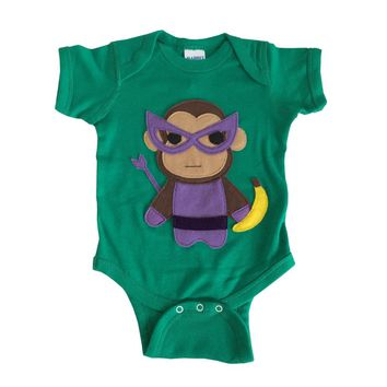 Super Hero Onesuit -Team Super Animals - Monkey Banana Green Infant Bodysuit - Baby Clothes Gift