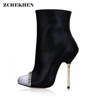 2018 New Women high heel pumps mixed colors bling High Heels Ankle Boots Thin Heel Women