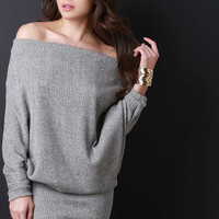 Off Shoulder Slouchy Ribbed Knit Dress