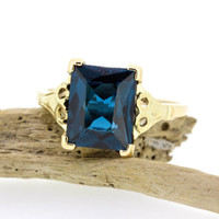 London Blue Topaz Ring | Vintage Gemstone Ring | 10k Yellow Gold Ring | Estate Ring | Cocktail Ring | Promise Ring | Size 6 1/2