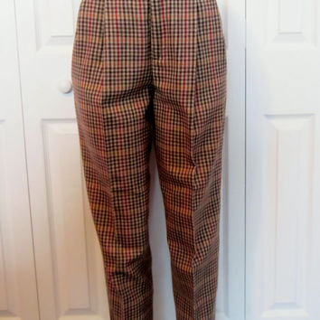 Vintage 80s Plaid Wool Pants, Pleat Front Trousers, High Waisted Pants, JH Collectibles, Lined Wool Trousers, Womens 8, USA Union Label