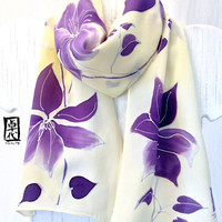 Hand Painted Silk Scarf Purple Clematis Vine, Floral Scarf. Yellow Silk Scarf. Silk Crepe. 7.5x52 in. In Stock.