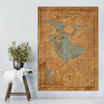 Map Of The Witcher 3Wild Hunt Hot Game Art Canvas Painting Vintage Poster Print 12x18 24x36inch Wall Pictures For Room Decor