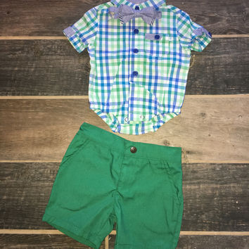 CHECKERED Onesuit W/GREEN SHORTS & BOW TIE