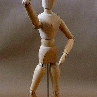 "Vintage Wood Posable Figure Artist Model 13"" Tall Model Human Figure Drawing"