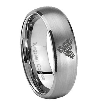 8MM Classic Satin Silver Dome Phoenix Tungsten Laser Engraved Ring