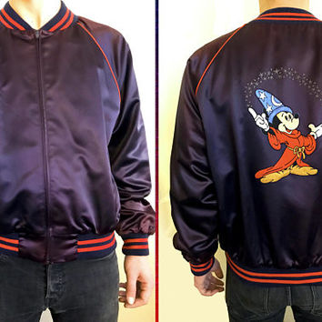 80s RARE Vintage DISNEY Satin Blue Bomber Jacket / Mickey Mouse Fantasia Embroidered Patch / LP Designs for Walt Disney Character Fashions