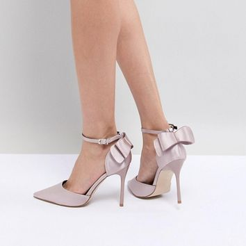 Chi Chi London Bow Back Heels in Satin at asos.com