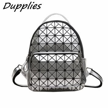 Dupplies Women Backpack Small Geometric School Backpack Shoulder Bags Girls Laser Bag Mini Backpacks Travel Back pack
