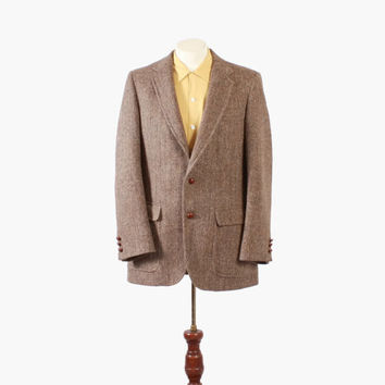 Vintage 60s BLAZER / 1960s Men's HARRIS TWEED Herringbone Sport Coat Jacket