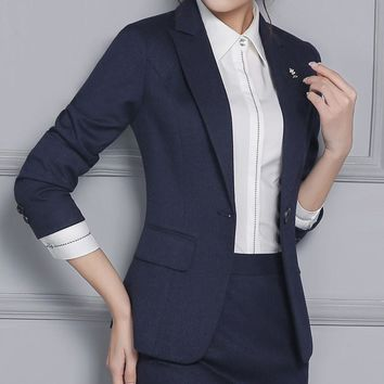 Formal Slim Fashion 2016 Autumn Winter Professional Blazers Jackets For Business Women Ladies Tops Coat Uniforms Outwear S-4XL