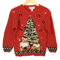 Vintage 90s Christmas Trees and Teddy Bears Ugly Christmas Sweater